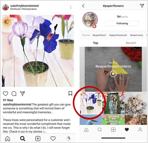 voorbeeld van een Instagram-bericht dat als eerste wordt weergegeven in zoekresultaten voor een specifieke hashtag
