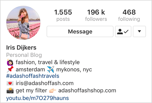 example of Instagram bio with keywords