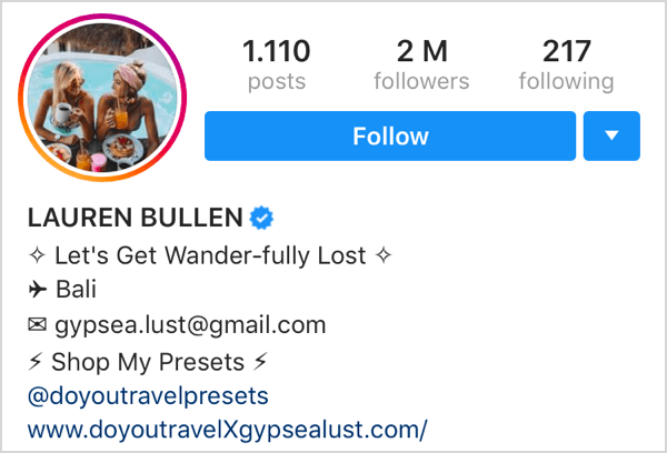 example of Instagram profile with emojis next to each handle in bio