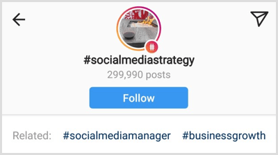 a list of related hashtags below a specific Instagram hashtag