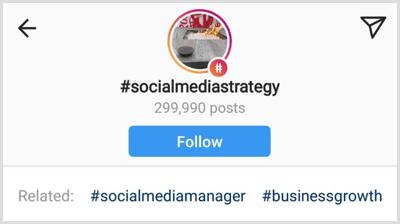 een lijst met gerelateerde hashtags onder een specifieke Instagram-hashtag