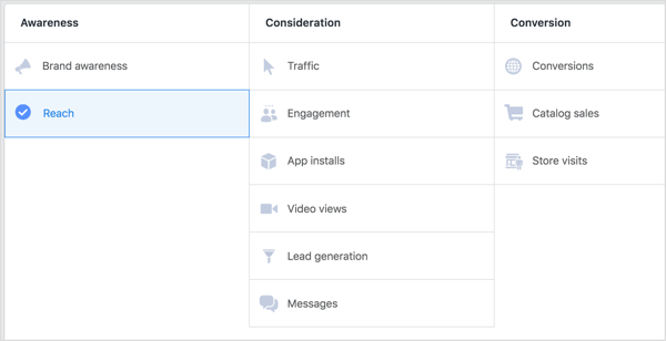 Select Reach as the objective for your Facebook campaign.