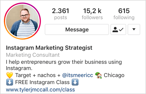 example of Instagram bio with call to action