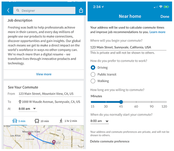 LinkedIn members can now view the estimated commute times on a typical work day from their device's current location to jobs posted on LinkedIn.