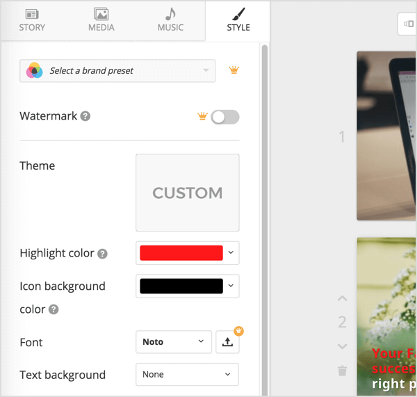 Open the Lumen5 Style tab to edit brand colors, fonts, backgrounds, animation style, and positioning.