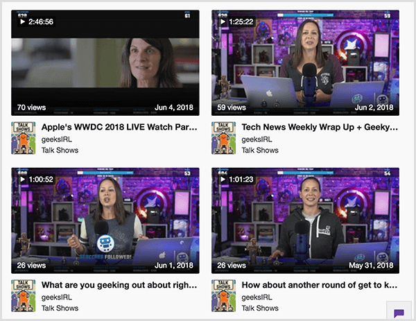 Luria Petrucci typically goes live for at least an hour. Four video clips from the Geeks Life channel are 2 hours, 45 mintues; 1 hour, 25 minutes; 1 hour; and 1 hour, 1 minute respectively.