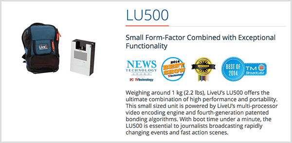 Luria Petrucci uses the LU500 backpack to stream live irl videos on Twitch. The LiveU sales page says this streaming device has Small Form-Factor Combined With Exceptional Functionality. Several product awards appear below this description.