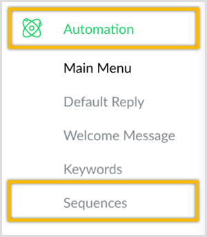 create sequence for Messenger bot with ManyChat