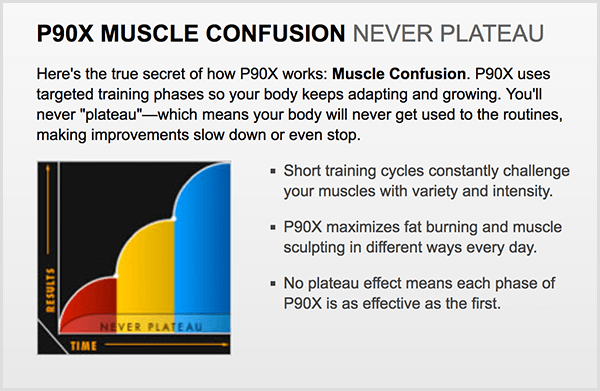 P90X used the term muscle confusion to generate curiosity.