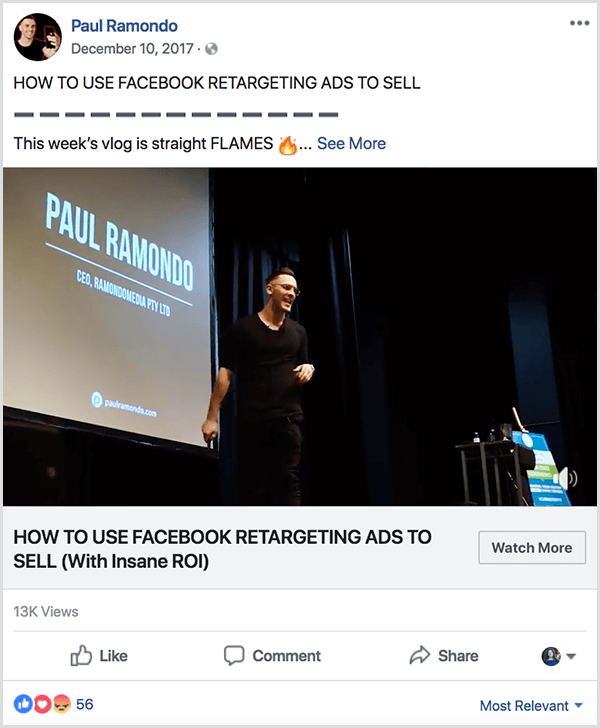 A Paul Ramondo vlog posted to facebook has the text How to Use Facebook Retargeting Ads to Sell. Below this title is the text This Week's Vlog Is Straight Flames followed by a fire emoji. The video shows Paul speaking on stage in front of a large projector screen that displays his name and company information.