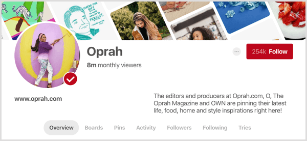 example Pinterest profile showing monthly viewers stat