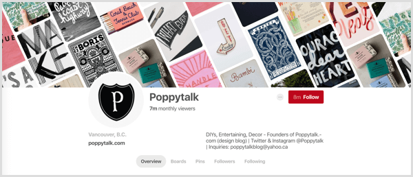 example of Pinterest profile cover image with titled pins