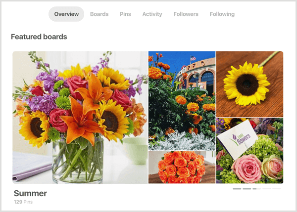 example of Featured boards section for Pinterest profile