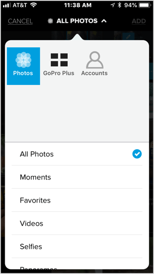Tap the + icon and select a video or five or more images to import into Quik.