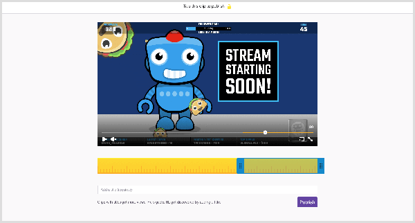 The Twitch video player has a Clip button that takes you to a screen where you can create a clip from a live broadcast. A yellow ruler appears below the clip preview. Blue handles help you set the start and end points for your clip. A text box where you give the clip a name appears below the ruler. A purple Publish button appears below the clip name field.