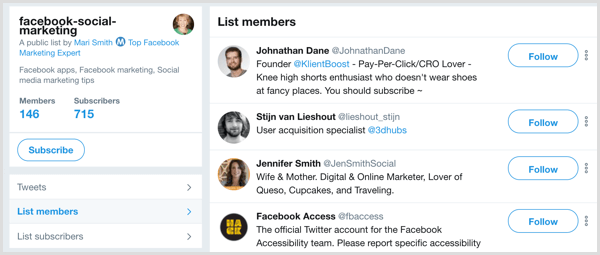 Twitter list example