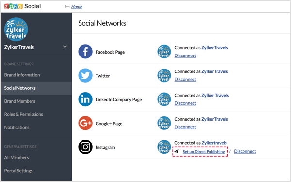 Set Up Direct Publishing link in Zoho Social app