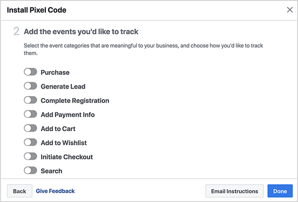 Andrew Foxwell notes that for Facebook Analytics to work, you need to install your Facebook events for your Facebook pixel correctly. The Install Pixel Code dialog box shows prebuilt events you can track with Facebook Pixel, including Purchase, Generate Lead, Complete Registration, Add Payment Info, Add to Cart, Add to Wishlist, Initiate Checkout, and Search.