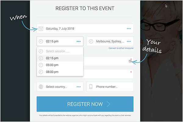 Andrew Hubbard uses an evergreen webinar so that prospects can choose a convenient registration time. This registration form lets people select from 11:45 AM, 2 PM, or 5 PM.