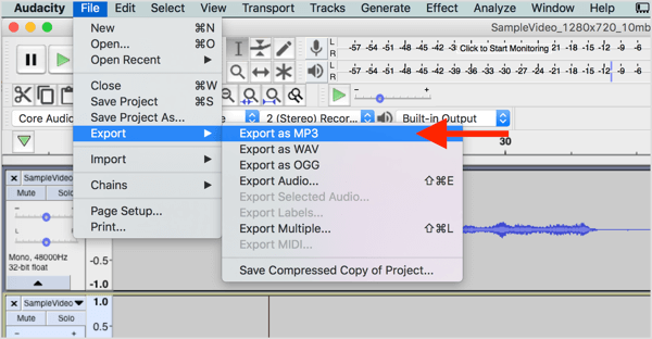 Choose File > Export > Export as MP3 to download the audio file from Audacity.