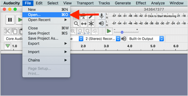 Choose File > Open and navigate to your video file in Audacity.