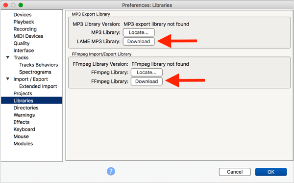 Install the optional LAME MP3 encoder and FFmpeg library with Audacity.