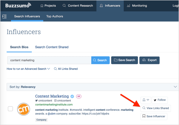 BuzzSumo lets you search for social media influencers by topic and see the links they've shared.