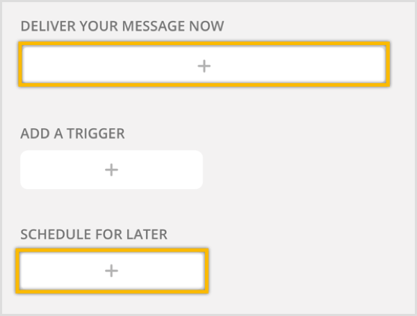 Click the + button to create a new broadcast message.