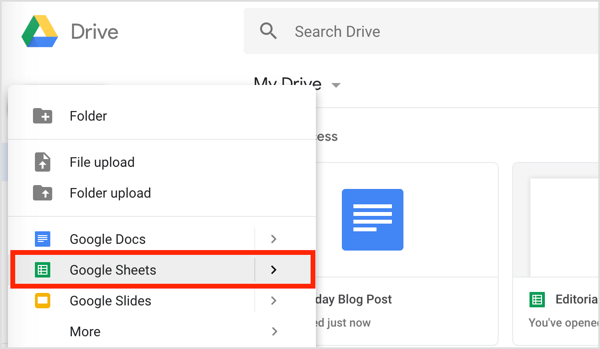 Click the New button on the left and choose Google Sheets from the drop-down menu.