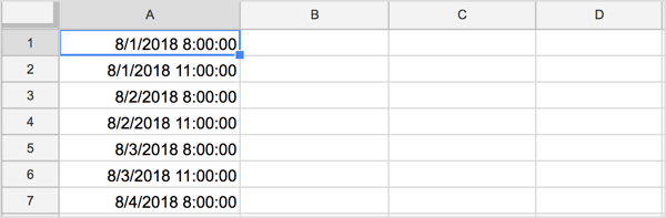 The dates/times should now be in order in your spreadsheet.
