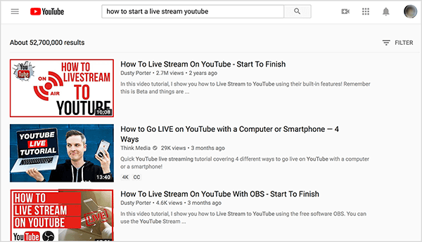 "Search YouTube for ""how to start a live stream youtube"" and the top search results show two videos by Dusty Porter."