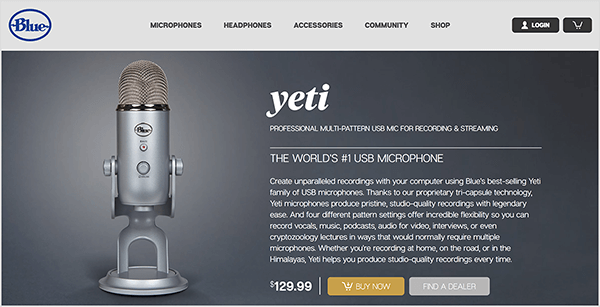 Dusty Porter recommends upgrading to a USB microphone like the Blue Yeti. On the Blue sales page for the Yeti microphone, an image of a chrome mic on a stand appears against a dark gray background. The price is listed as $129.00.