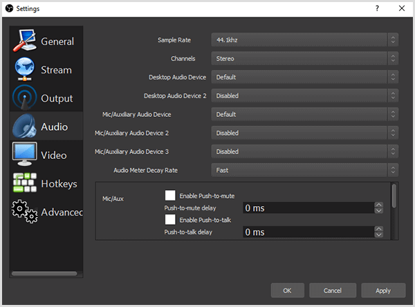 The OBS Studio Settings dialog box has options on the Audio tab for setting your audio source. You want to make sure your audio source is your chosen microphone and not your built-in computer or camera mic.