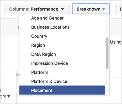 Select By Delivery > Placement from the Breakdown drop-down menu.
