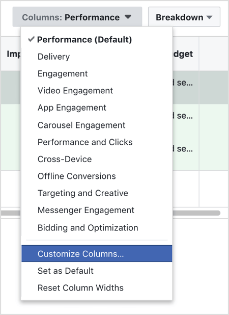 Select Customize Columns from the Columns drop-down menu.