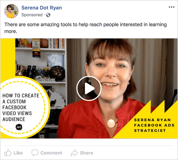 Show your audience a Facebook video ad for something you have or do that solves their problem.