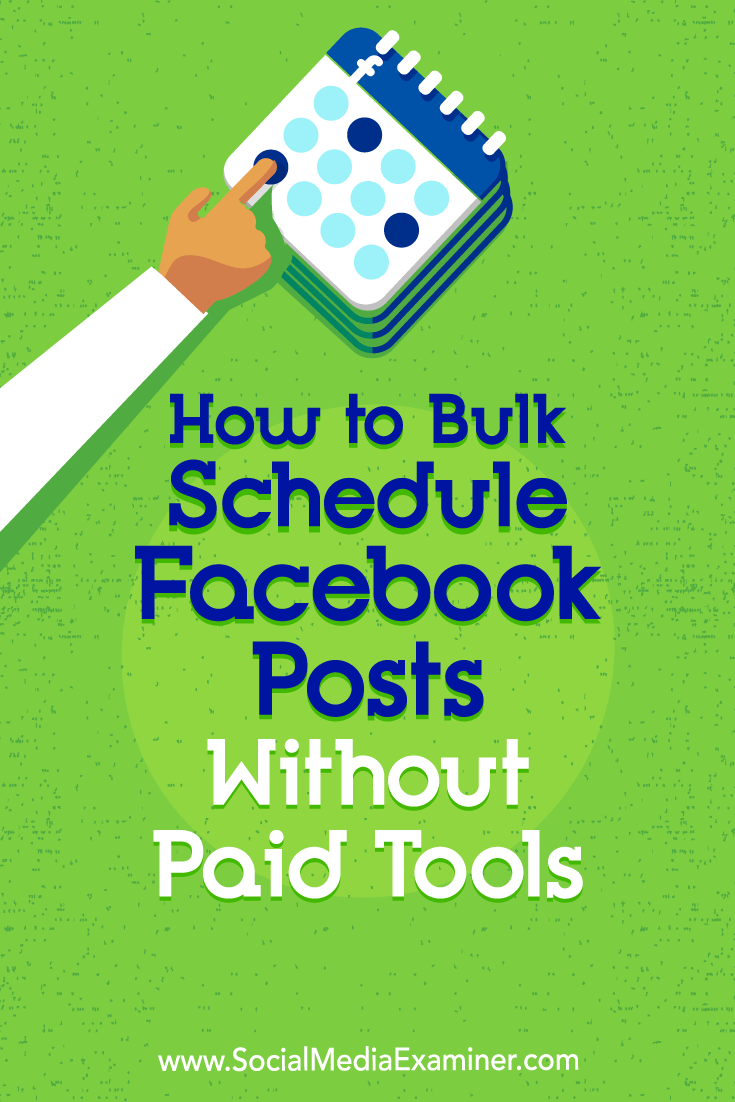 Discover a three-step process to schedule multiple posts to your Facebook page and group using free tools.