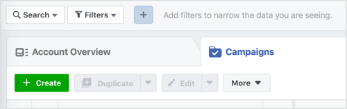 Click the Create button to start a new Facebook campaign.