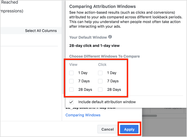 In the Comparing Attribution Windows box that pops up, select the attribution windows you want to analyze.