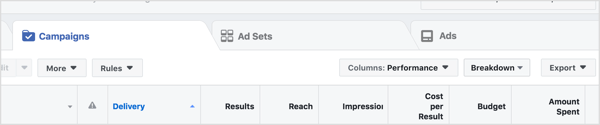 To compare attribution windows, open Ads Manager and click the Campaigns, Ad Sets, or Ads tab.