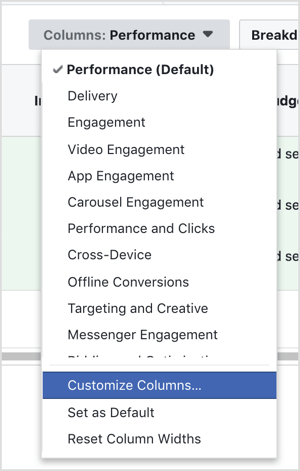 Click the Columns drop-down menu and select Customize Columns.