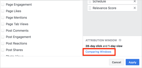In the Customize Columns window, click Comparing Windows in the lower-right corner.