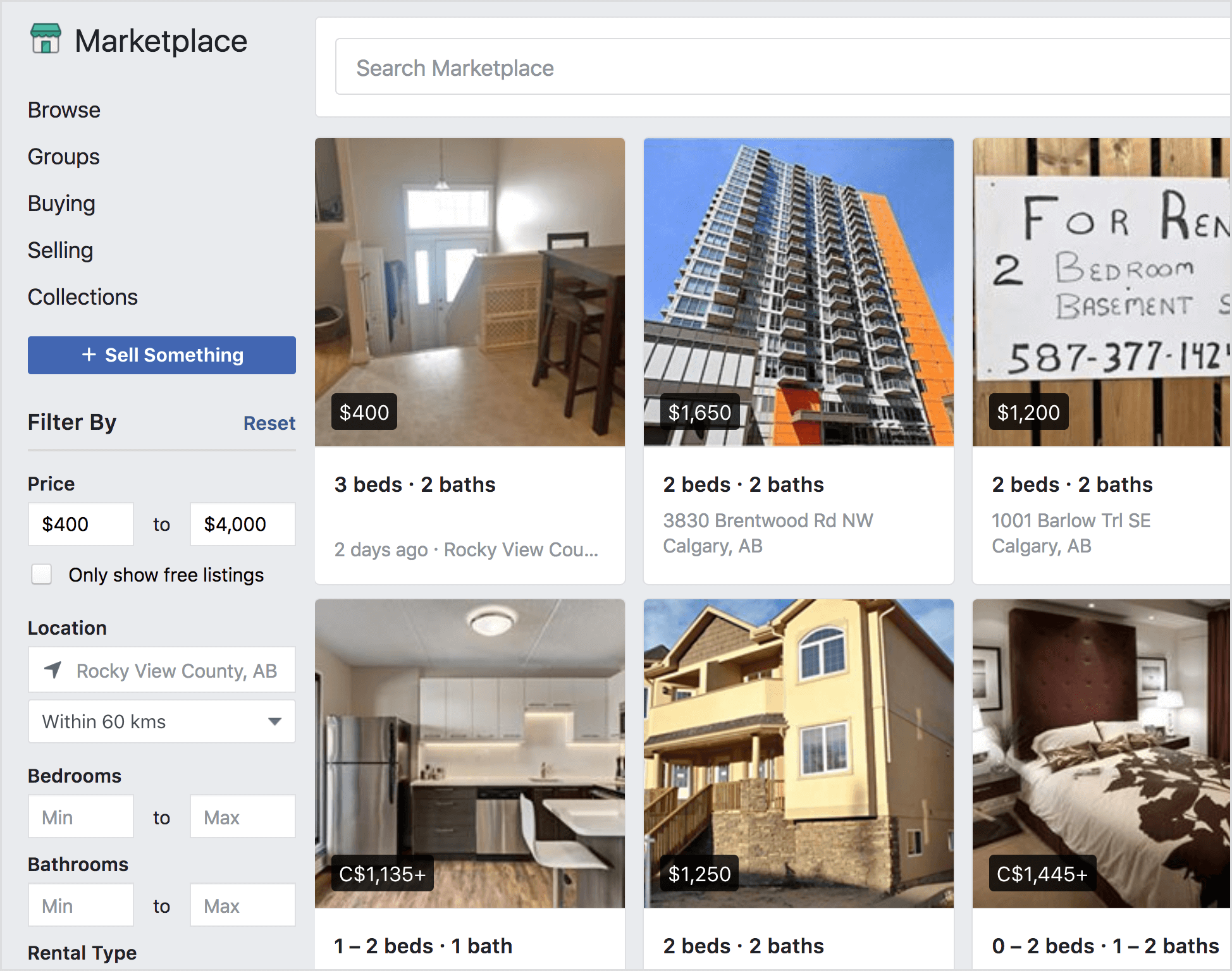 Facebook Marketplace offers rental properties for sale.