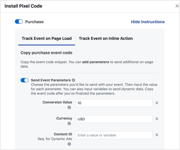 Set parameters to generate the Facebook event code you need.