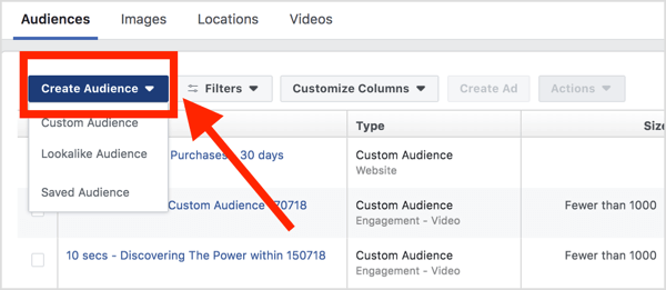 In your Audiences dashboard, click Create Audience and select Custom Audience from the drop-down menu.
