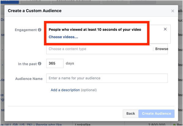 From the Engagement drop-down list, select People Who Viewed at Least 10 Seconds of Your Video.