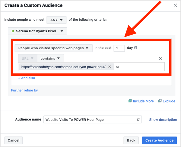 Select your Facebook pixel and choose People Who Visited Specific Web Pages and enter the URL of the web page this audience has visited.
