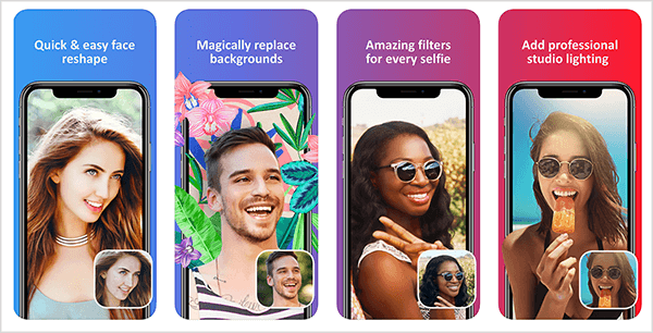 Facetune 2 is an easy way to touch up your selfies. The iTunes App Store preview shows how the app adjusts a face, replaces a background, filters color, and fixes lighting issues.