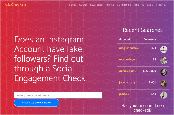 Check for fake Instagram followers with FakeCheck.co.