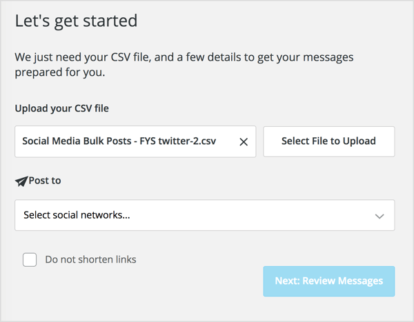 Click Select File to Upload and navigate to your CSV file.